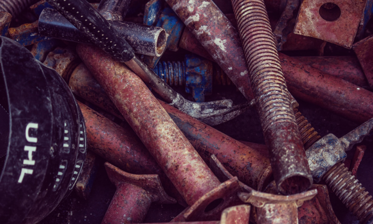 assortment of scrap metal for recycling