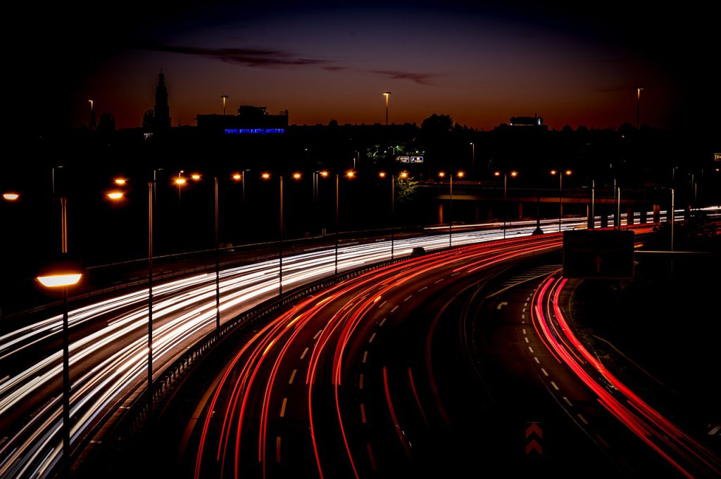 Traffic on motorway at night